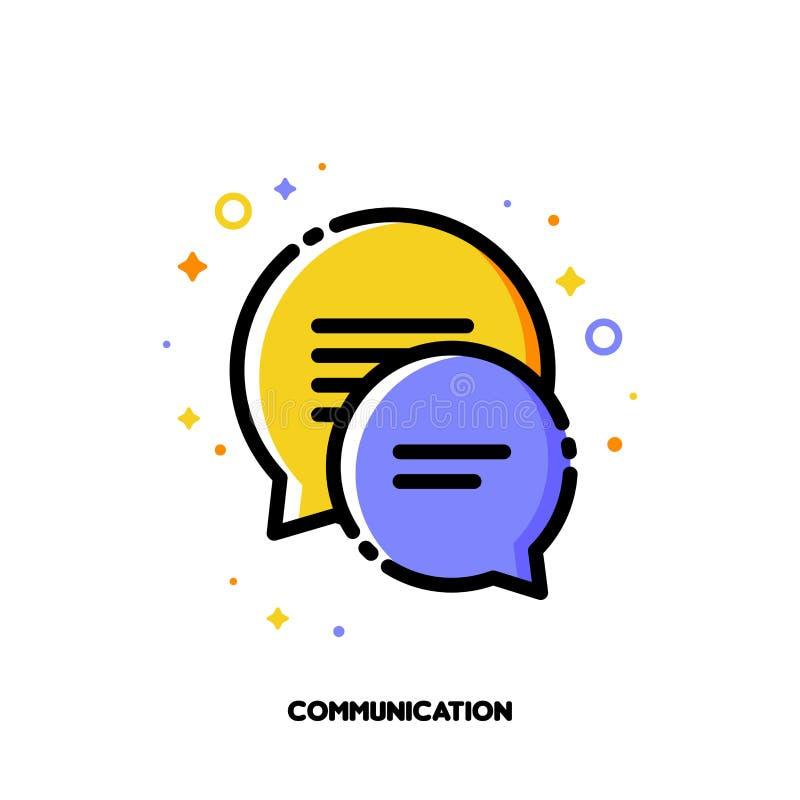 Socialt nätverkskommunikationsbegrepp Symbol av två anförandebubblor royaltyfri illustrationer