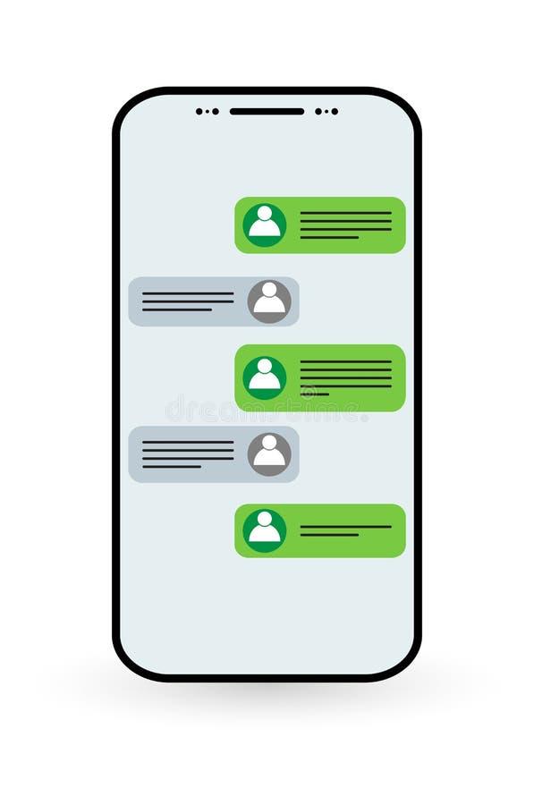 Socialt nätverkssymbolsbegrepp Meddelande för vektorpratstundmeddelanden i smartphone stock illustrationer