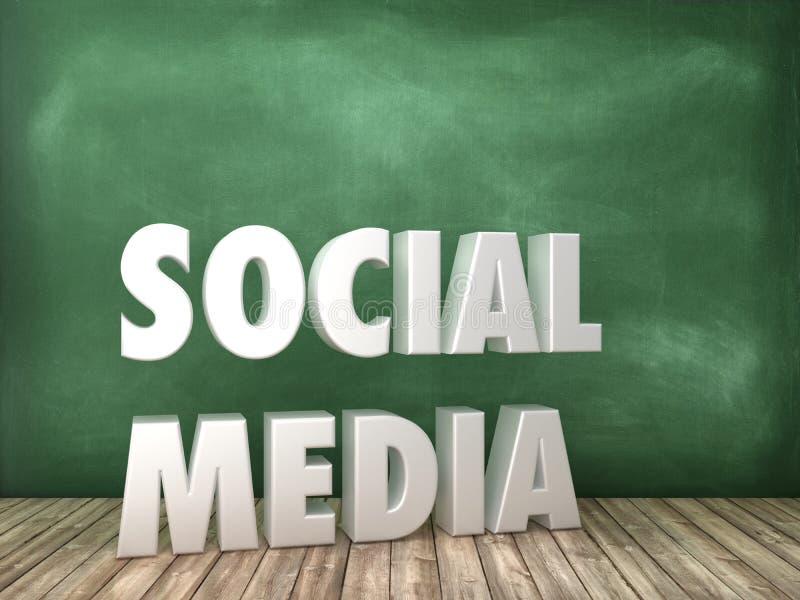 SOCIALT ord för MASSMEDIA 3D på svart tavlabakgrund stock illustrationer