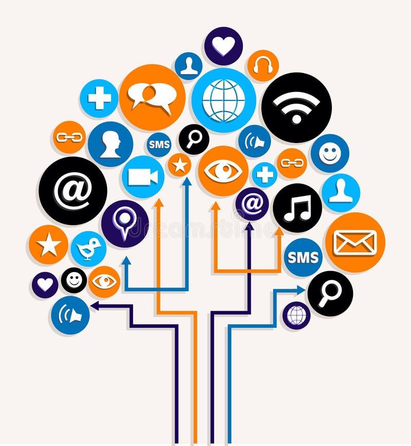Socialt plan för tree för medelnätverksaffär stock illustrationer