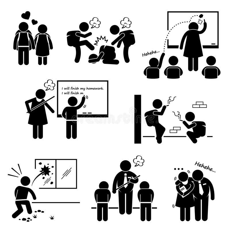 Socialt problem Clipart för skolutbildning stock illustrationer