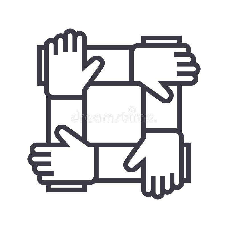 Sociedad, colaboración, línea icono, muestra, ejemplo del vector de la ayuda en el fondo, movimientos editable ilustración del vector