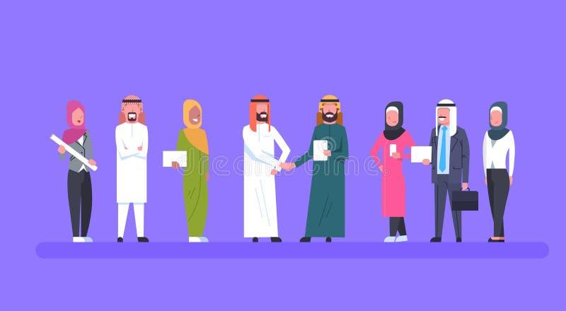 Sociedad de Leaders Handshake Over Team Of Muslim Business People del hombre de negocios de dos árabes y concepto del acuerdo stock de ilustración