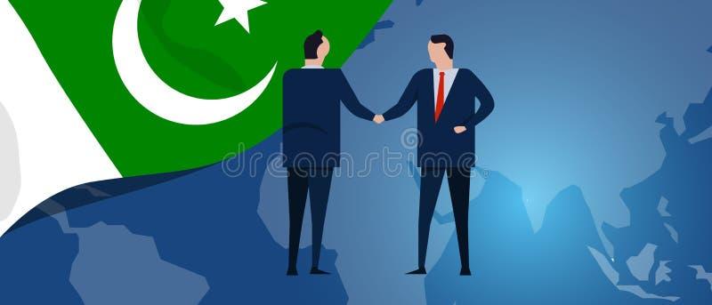 Sociedad del international de Paquistán Negociación de la diplomacia Apretón de manos del acuerdo de la relación de negocio Bande stock de ilustración