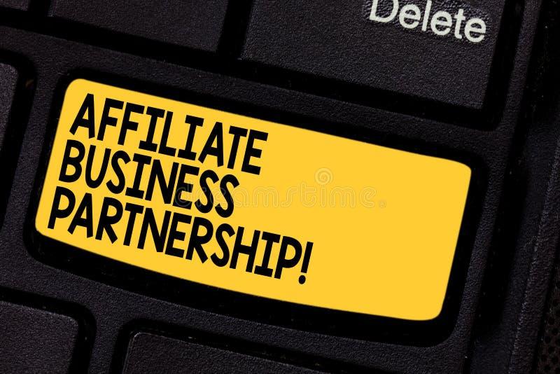 Sociedad del negocio del afiliado del texto de la escritura Relación entre compañías del significado del concepto para promover e fotografía de archivo