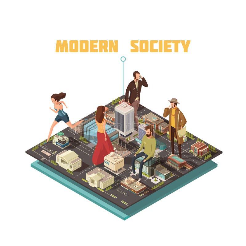 Sociedad isométrica de la gente stock de ilustración