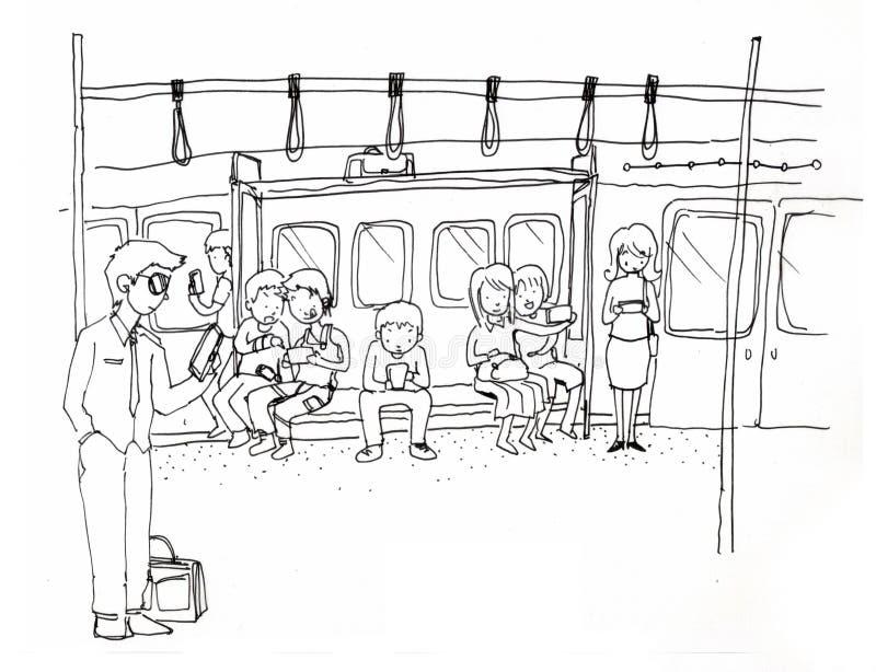 Sociedad móvil, todos smartphone del uso libre illustration