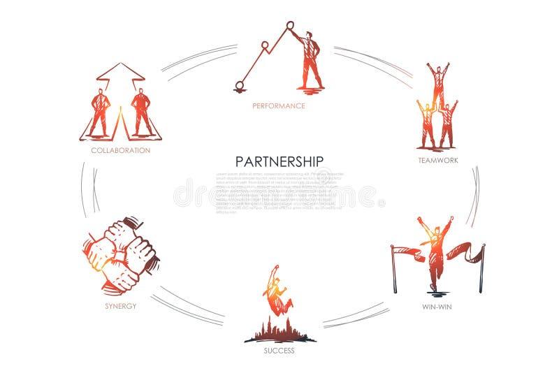 Sociedad - trabajo en equipo, provechoso para ambas partes, colaboración, funcionamiento, concepto determinado de la sinergia ilustración del vector