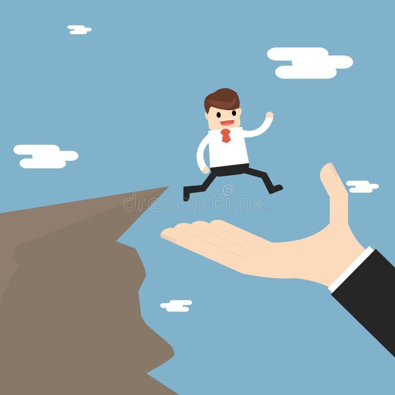 Sociedad y ayuda del negocio el hombre de negocios está caminando a ilustración del vector