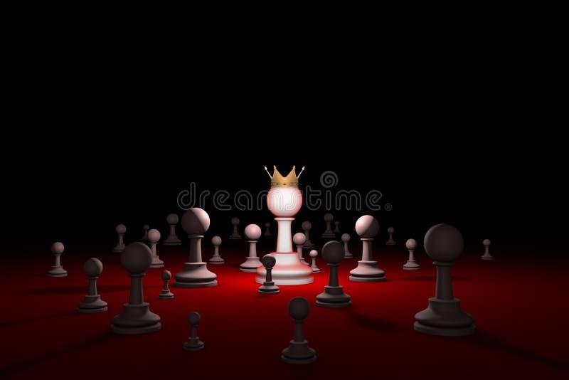 Sociedade secreta sect Líder & x28; metaphor& x29 da xadrez; 3D rendem o illustr ilustração do vetor