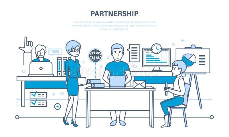 Sociedades, trabajo en equipo, actividades comunes, comunicaciones, discusiones, discusión de los indicadores de funcionamiento stock de ilustración
