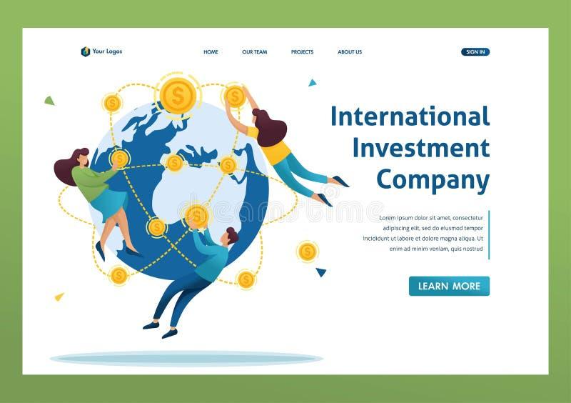 Società internazionale di investimento, uomini d'affari volano per il mondo Carattere piatto 2D Concetti delle pagine di destinaz royalty illustrazione gratis
