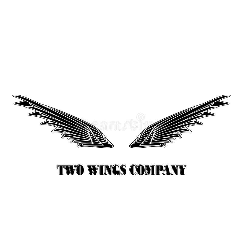Società nera di logo di due ali Due ali con il vettore bianco eps10 delle bande illustrazione vettoriale