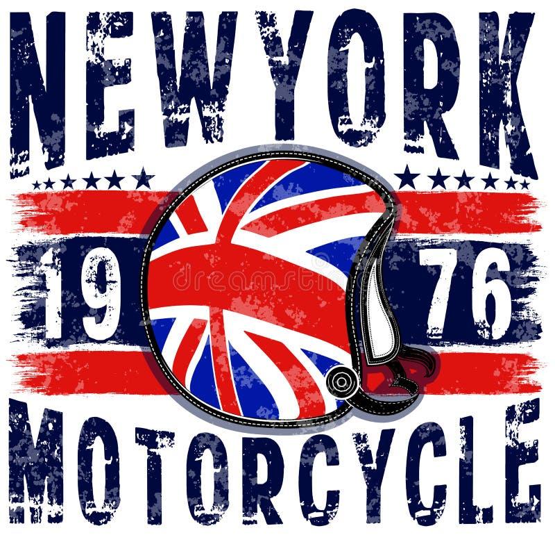 Società polisportiva di New York di tipografia del casco del motociclo royalty illustrazione gratis