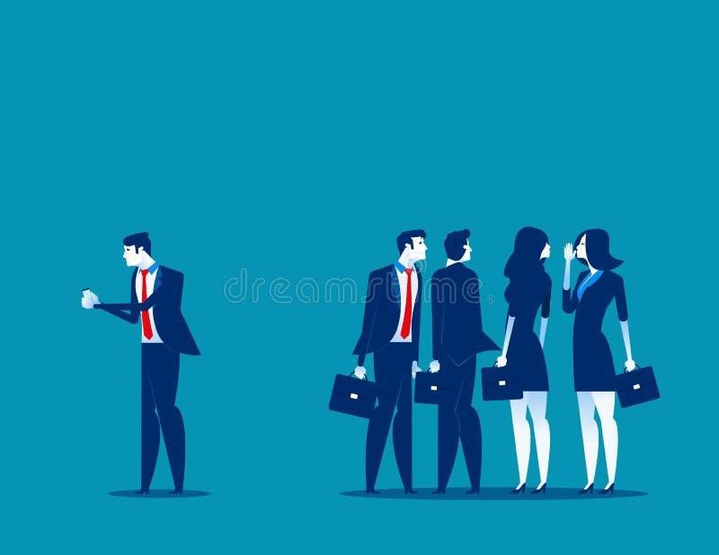Società sul lavoro Uomo d'affari separato dal gruppo di amici a per mezzo del telefono Illustrazione di vettore di affari di conc illustrazione vettoriale