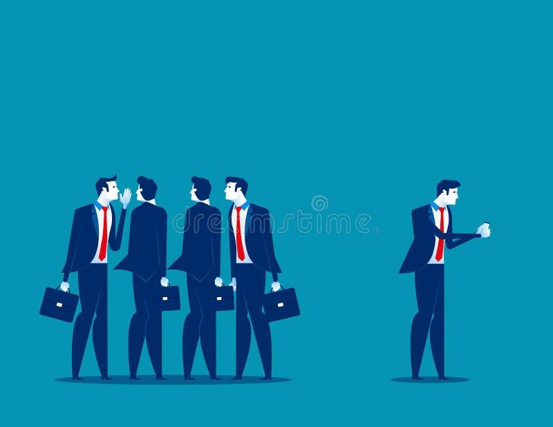 Societ? sul lavoro Uomo d'affari separato dal gruppo di amici a per mezzo del telefono Illustrazione di vettore di affari di conc royalty illustrazione gratis