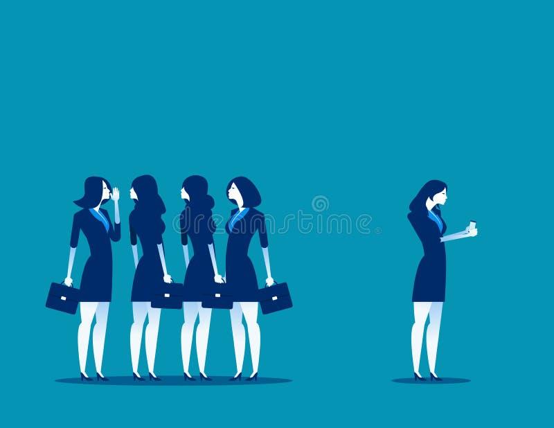 Societ? sul lavoro Uomo d'affari separato dal gruppo di amici a per mezzo del telefono Illustrazione di vettore di affari di conc illustrazione di stock