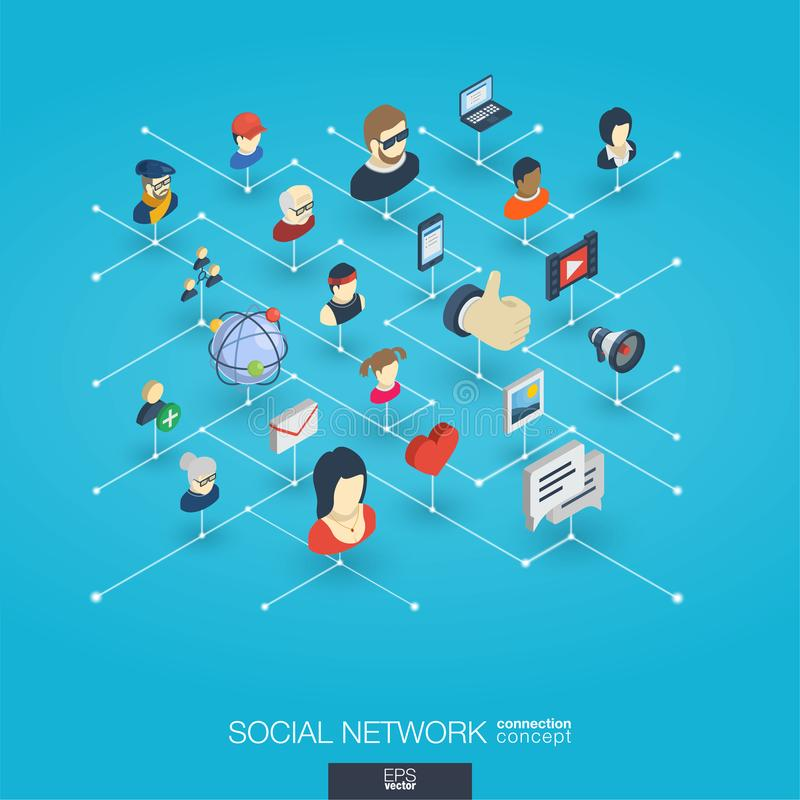 Society integrated 3d web icons. Digital network isometric concept. Society integrated 3d web icons. Digital network isometric interact concept. Connected vector illustration