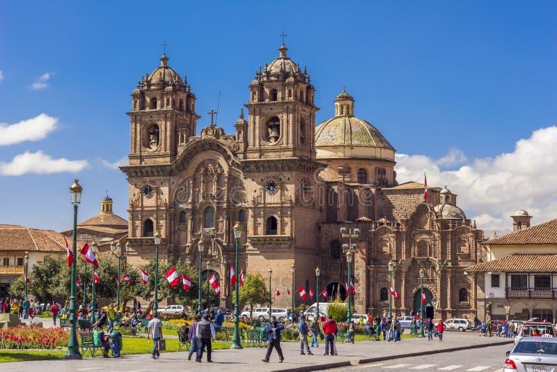 Society of Jesus church Plaza de Armas Cuzco Peru stock photography