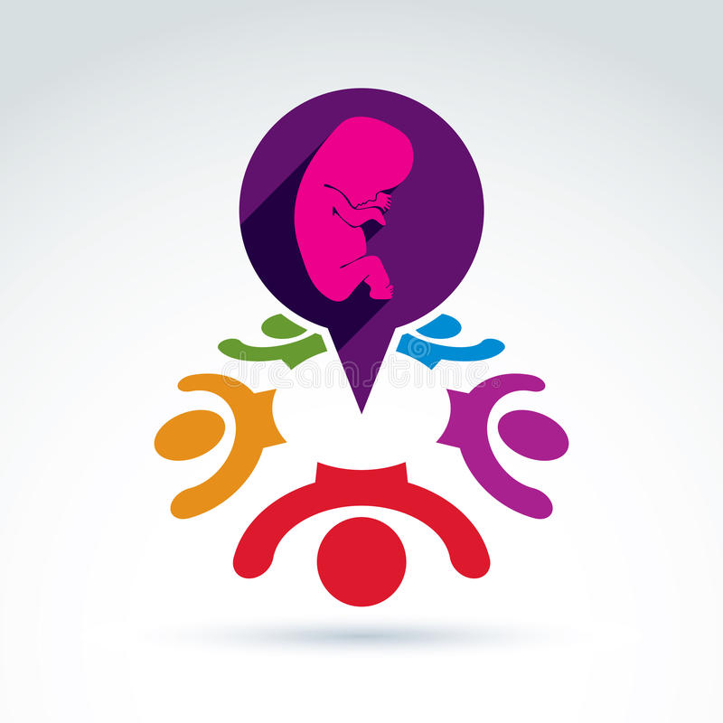 Society and organizations taking care about new born children an. D unborn, women health, prenatal center, vector conceptual unusual symbol for your design stock illustration