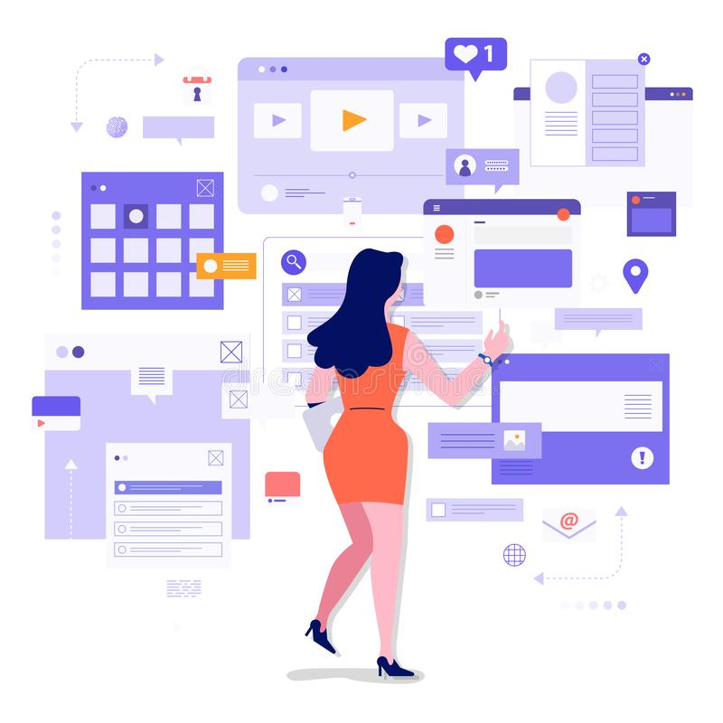 Socila media monitor tools. Flat design concept social media monitoring and analysis by people digital business marketing working with visualize. Vector vector illustration