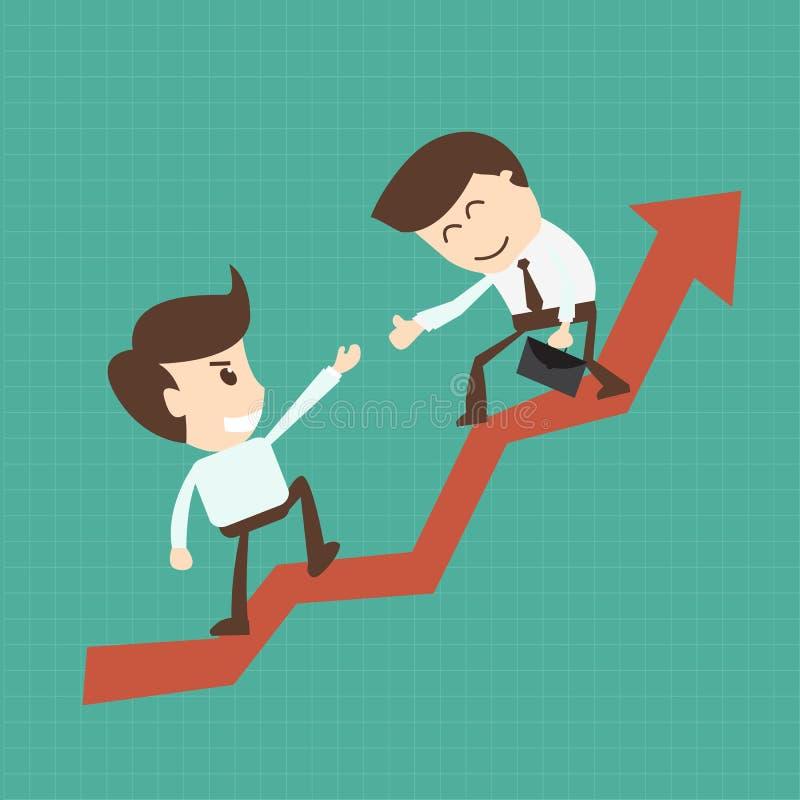 Socio financiero del equipo de la ayuda del consejero o del mentor de negocio hasta favorable ilustración del vector