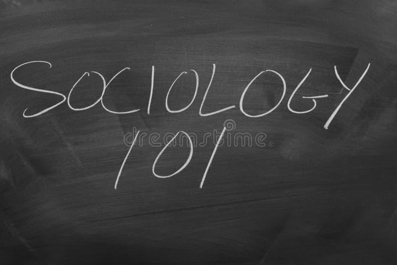 Sociologi 101 på en svart tavla royaltyfri bild