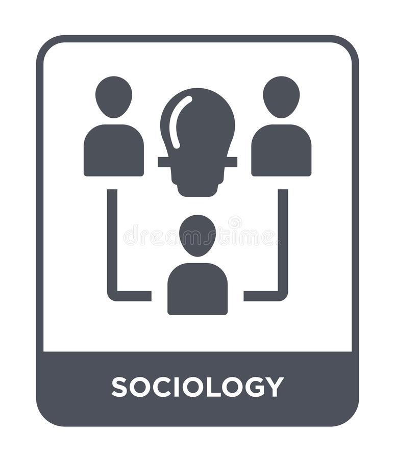 sociologiepictogram in in ontwerpstijl sociologiepictogram op witte achtergrond wordt geïsoleerd die eenvoudige en moderne vlakte vector illustratie