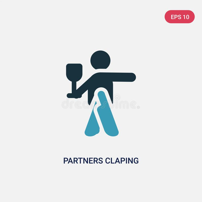 Socios bicolores claping el icono del vector de las manos del concepto de la gente los socios azules aislados claping símbolo de  ilustración del vector