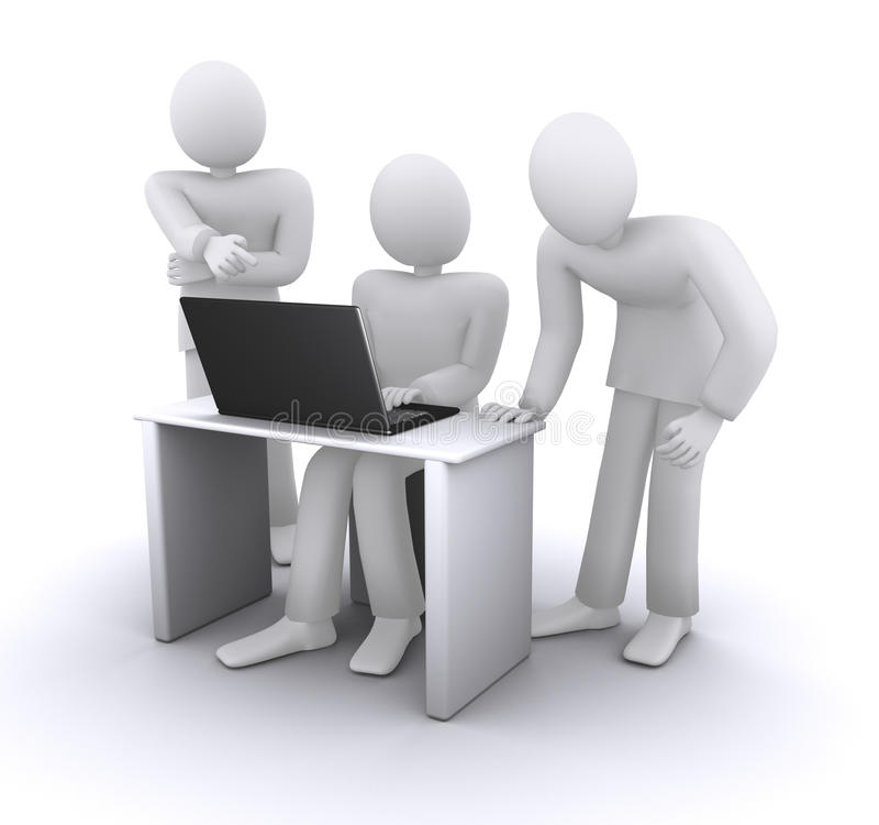 Socios comerciales alrededor del ordenador stock de ilustración