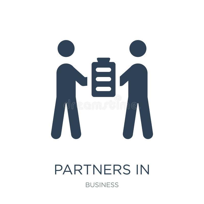 socios en icono del negocio en estilo de moda del diseño socios en el icono del negocio aislado en el fondo blanco Socios en asun stock de ilustración