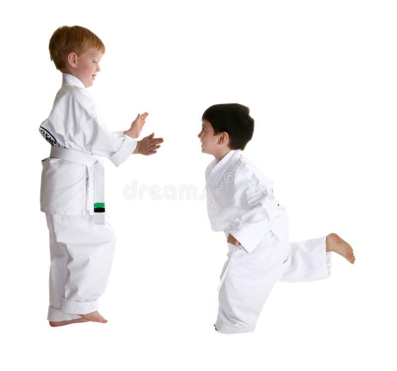 Socios Sparring en karate imagen de archivo libre de regalías