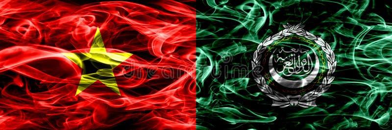 Socjalistyczna republika Wietnam vs Arabskiego ligi dymu flaga umieszczająca strona strona - obok - Gęste barwione silky dymne fl ilustracja wektor