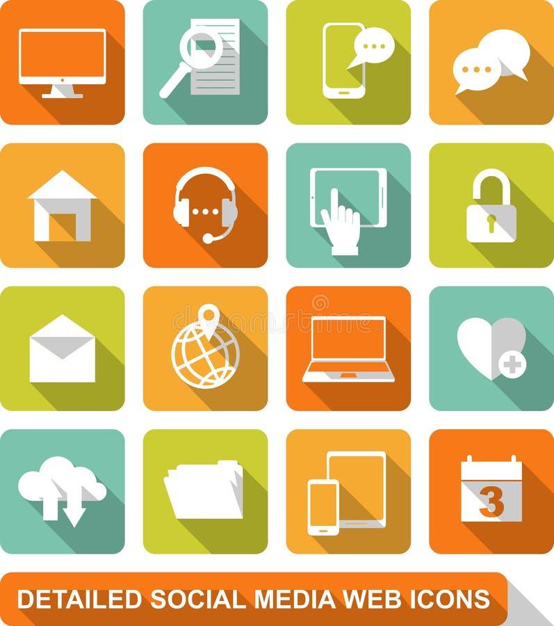 Socjalny, środki, sieci ikony ilustracja wektor