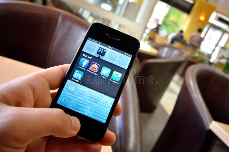 Socjalny app dla smartphone przyrządów zdjęcie royalty free