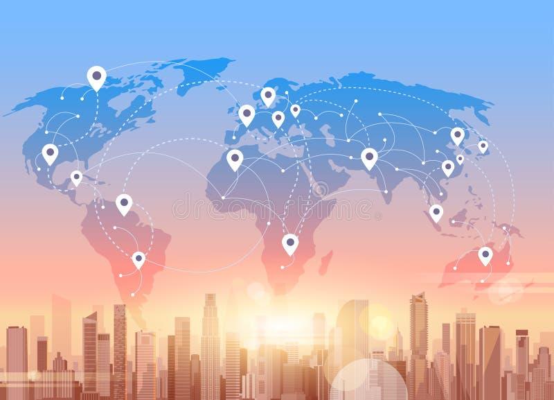 Socjalny Media Communication Internetowej sieci związku miasta drapacza chmur widoku Światowej mapy tło ilustracja wektor