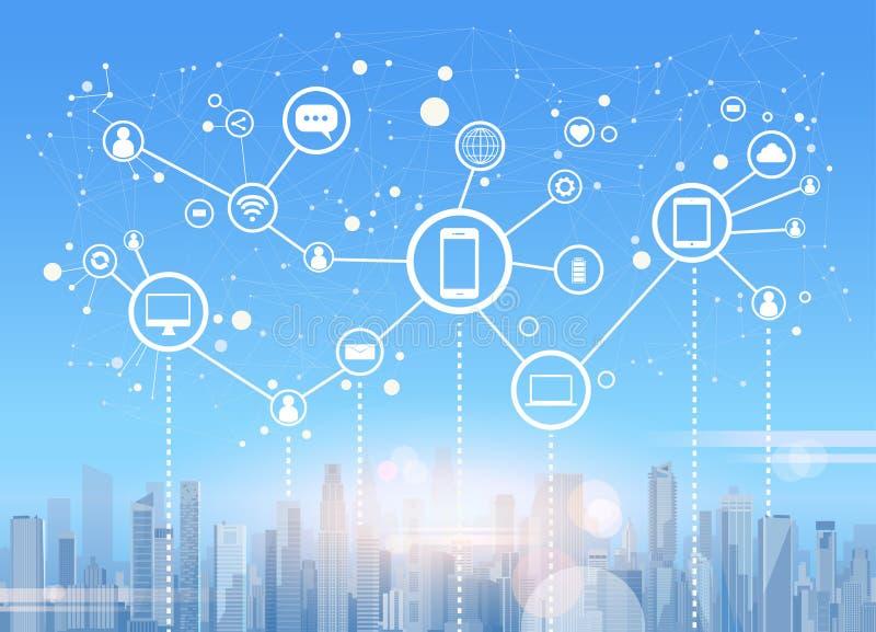 Socjalny Media Communication Internetowej sieci związku miasta drapacza chmur widoku pejzażu miejskiego tło royalty ilustracja