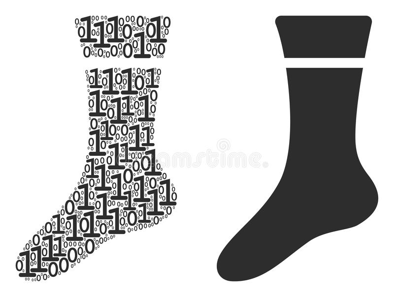 Sock Mosaic of Binary Digits. Sock composition icon of zero and null digits in various sizes. Vector digital symbols are organized into sock composition design royalty free illustration