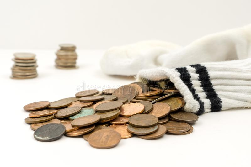 Sock Full of Pennies stock photography