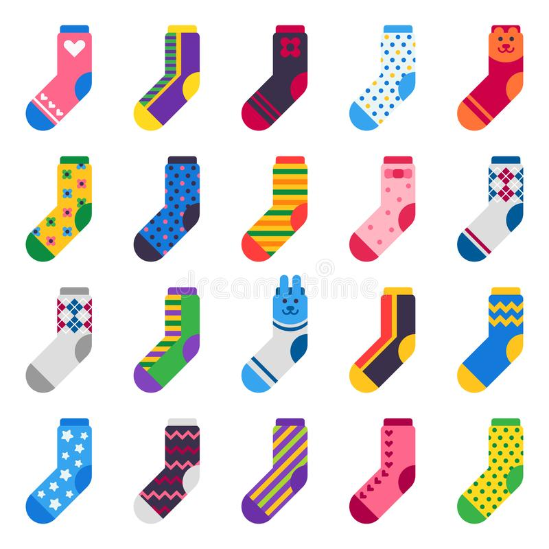 Sock icon. Sport long socks, kids feet clothes and striped warm hosiery isolated vector flat set. Sock icon. Sport long socks, kids feet clothes and striped warm royalty free illustration