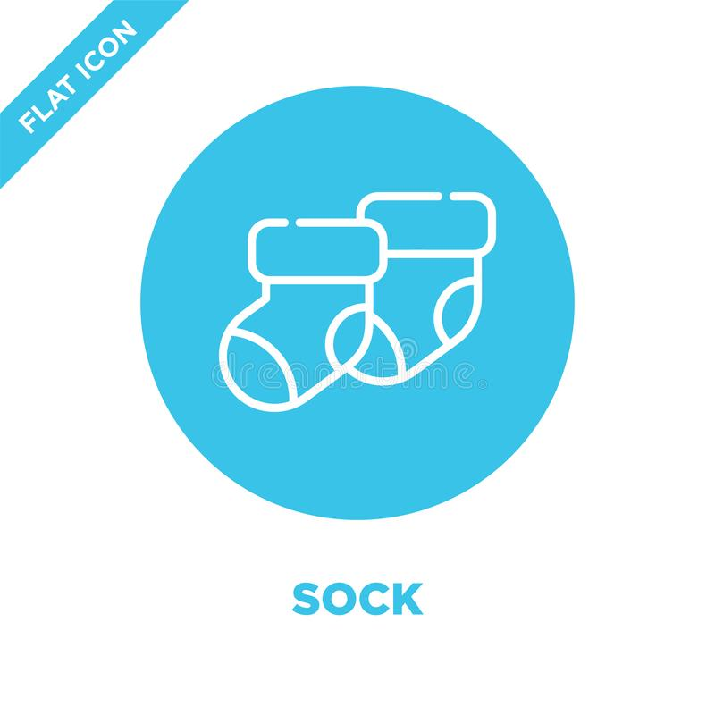 sock icon vector from baby toys collection. Thin line sock outline icon vector  illustration. Linear symbol for use on web and royalty free illustration