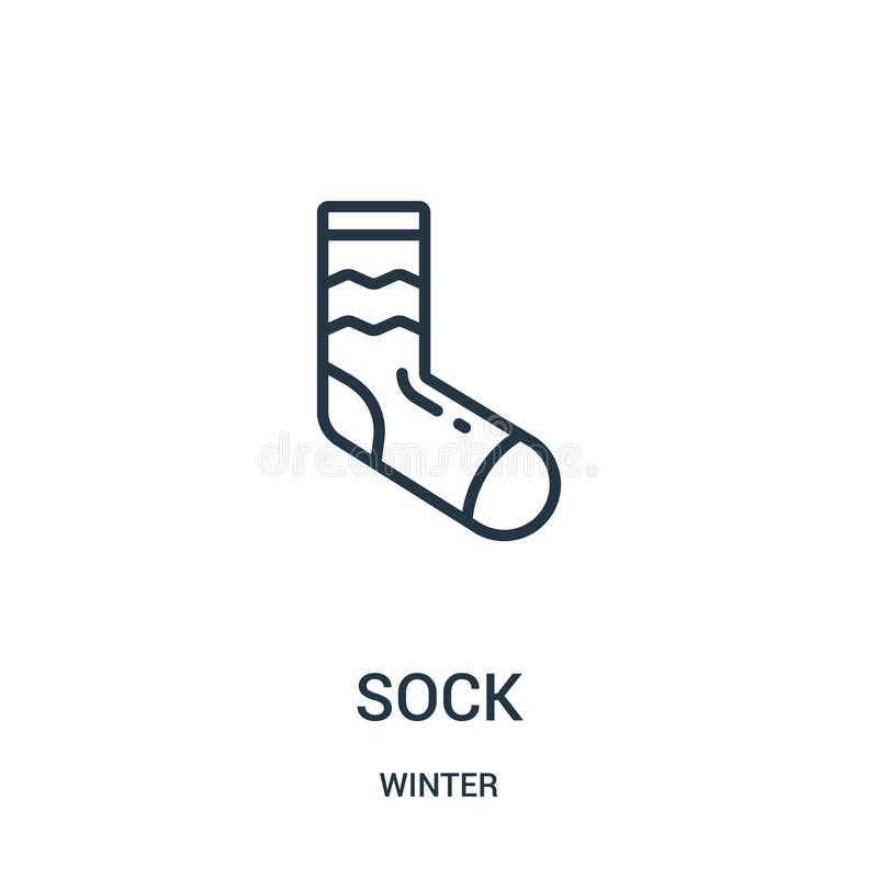 sock icon vector from winter collection. Thin line sock outline icon vector illustration. Linear symbol for use on web and mobile stock illustration