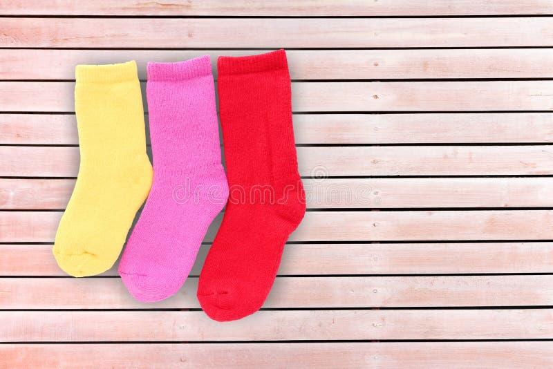 sock on wood background royalty free stock image
