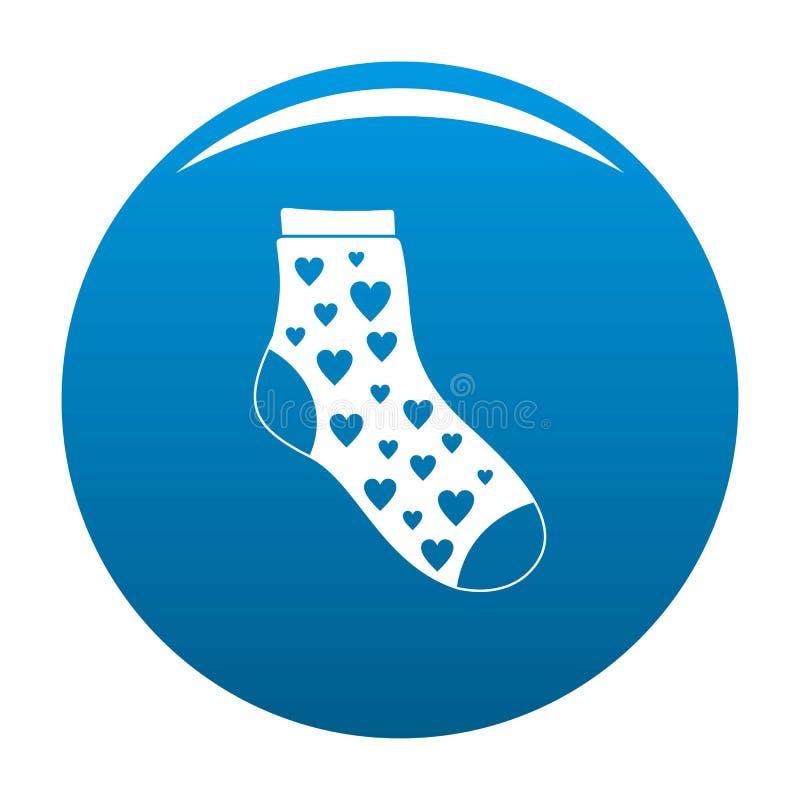 Socka med hjärtasymbolsblått royaltyfri illustrationer