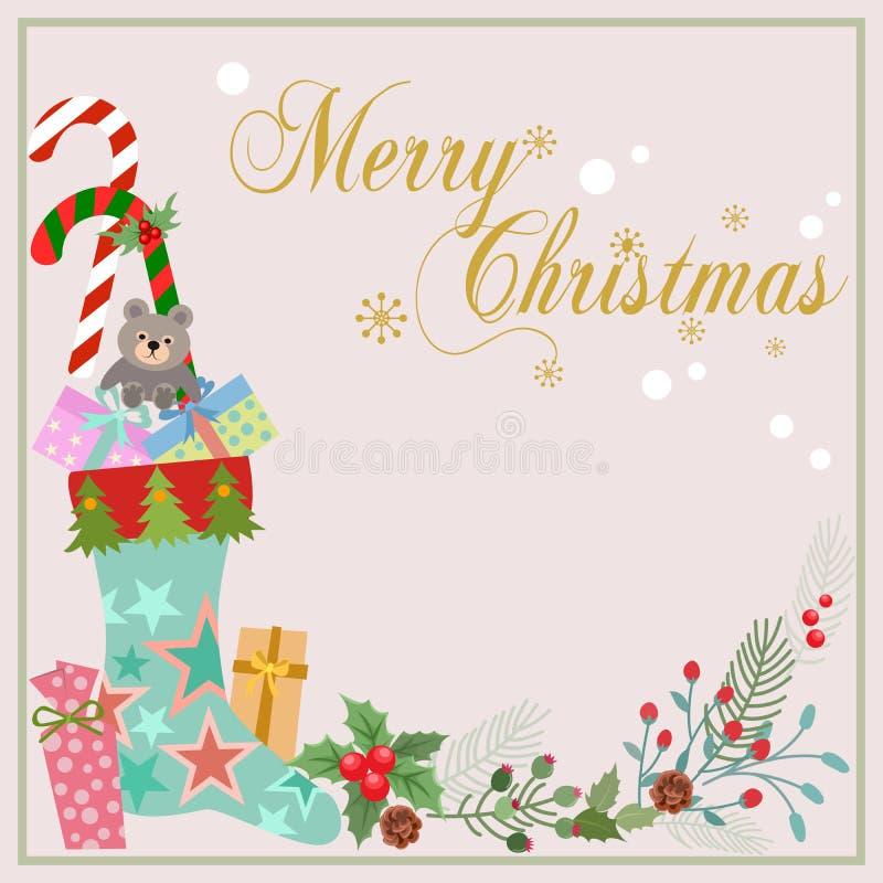 Socka och gåva för julkortdesign med blommaväxten stock illustrationer