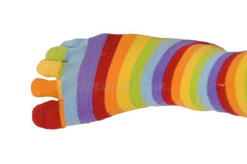 Socke Mehrfarben auf weißem Hintergrund lizenzfreie stockbilder