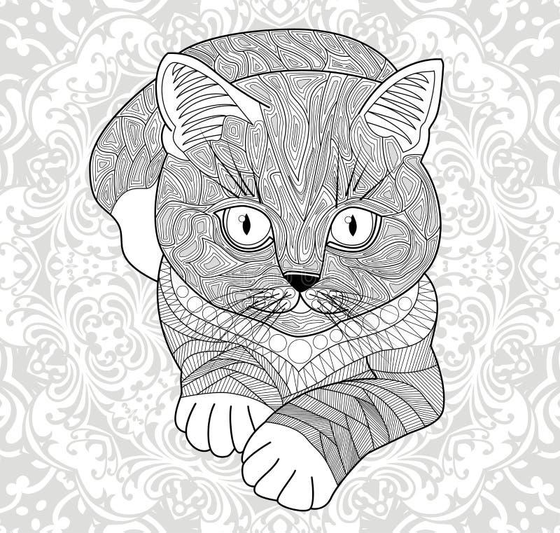 Sockel för t-skjortor, Färga sidor för vuxna människor räcka den målade katten med en etnisk blom- modell Abstrakt blommaMandala royaltyfri illustrationer