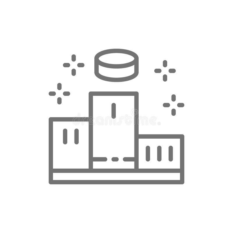 Sockel med vinnare, podiumplatslinje symbol vektor illustrationer