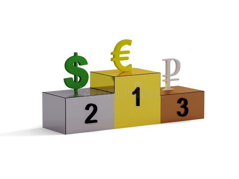 Sockel mit drei Arten Währung stockfotos