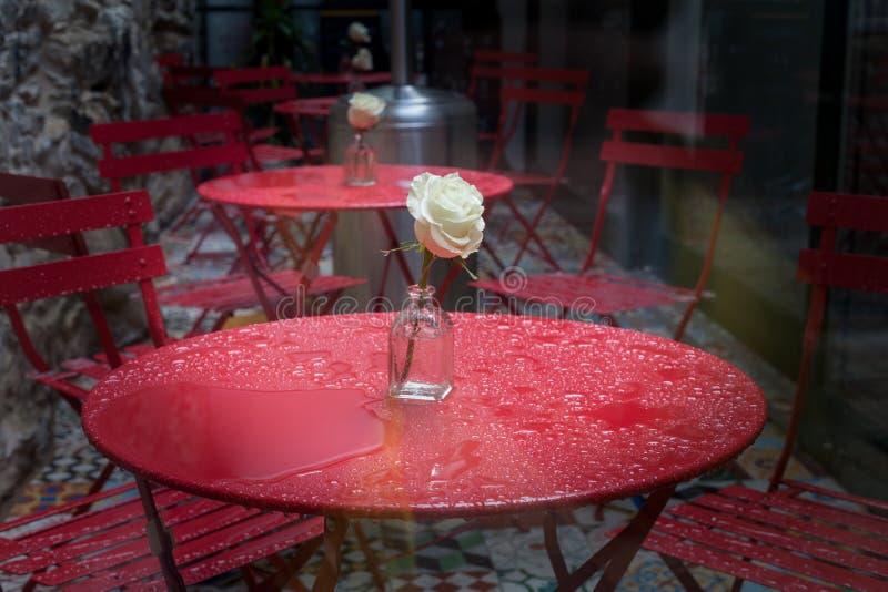 Sockeltabell och ros i en restaurang i Santiago de Compostela royaltyfria bilder